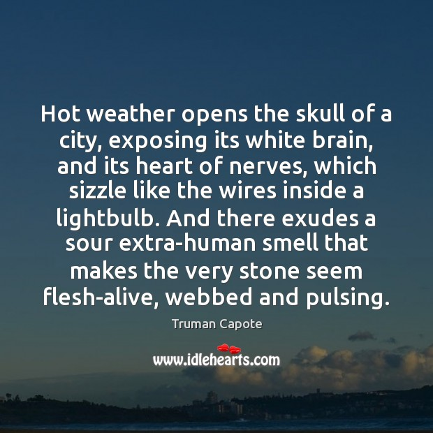 Image, Hot weather opens the skull of a city, exposing its white brain,