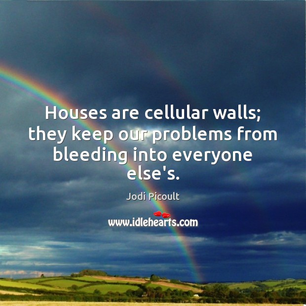 Image, Houses are cellular walls; they keep our problems from bleeding into everyone else's.