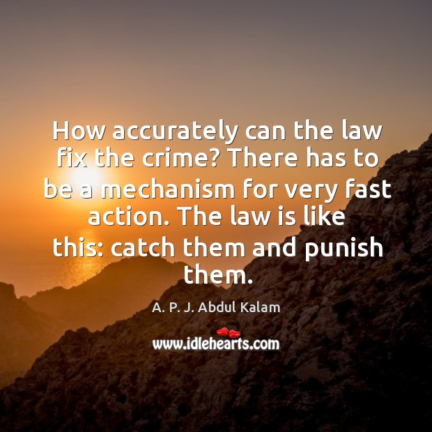 How accurately can the law fix the crime? there has to be a mechanism for very fast action. Image
