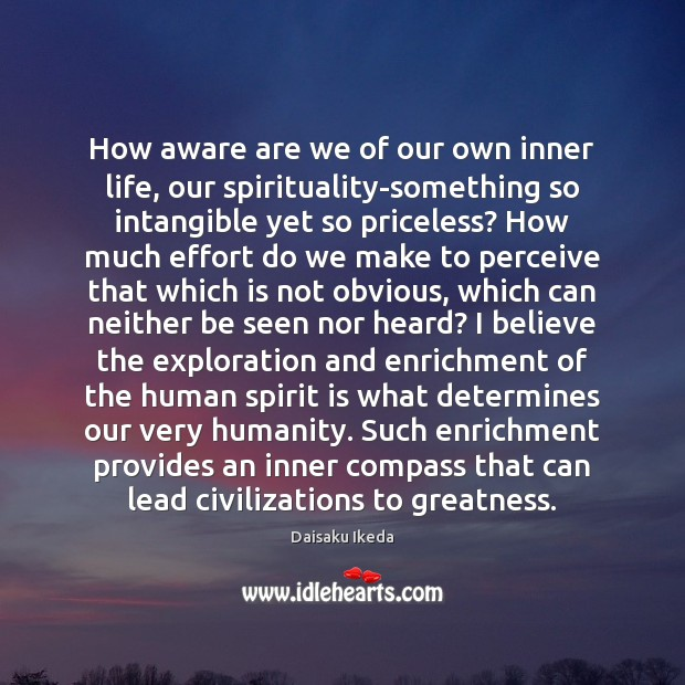 How aware are we of our own inner life, our spirituality-something so Daisaku Ikeda Picture Quote