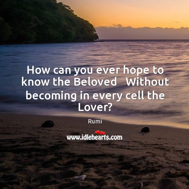 How can you ever hope to know the Beloved   Without becoming in every cell the Lover? Image