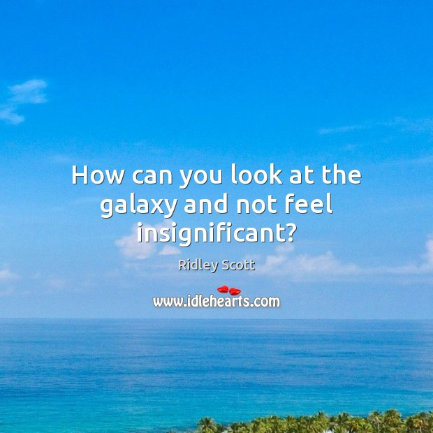 How can you look at the galaxy and not feel insignificant? Ridley Scott Picture Quote