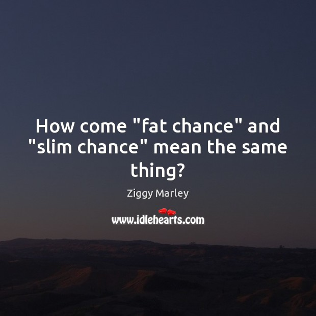 "How come ""fat chance"" and ""slim chance"" mean the same thing? Ziggy Marley Picture Quote"