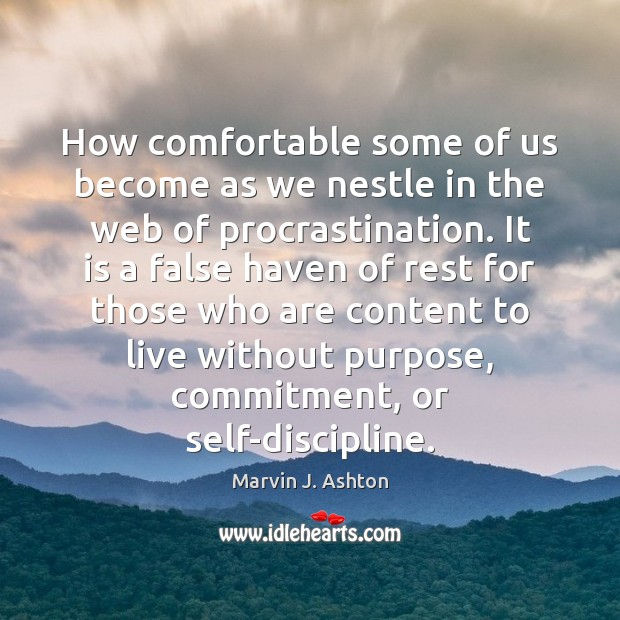 How comfortable some of us become as we nestle in the web Procrastination Quotes Image