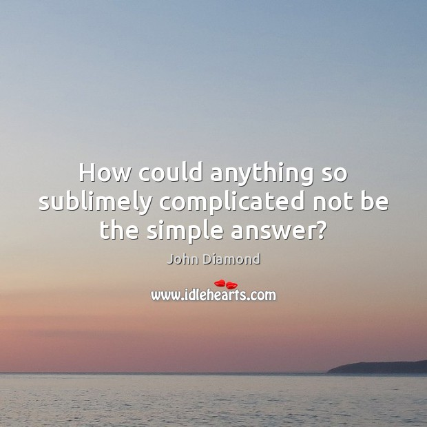 How could anything so sublimely complicated not be the simple answer? John Diamond Picture Quote