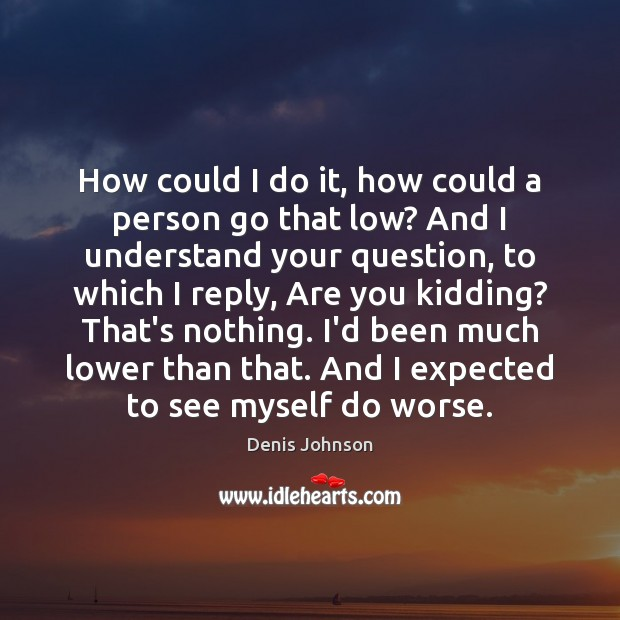 How could I do it, how could a person go that low? Denis Johnson Picture Quote
