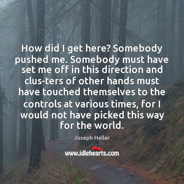 How did I get here? Somebody pushed me. Somebody must have set Joseph Heller Picture Quote