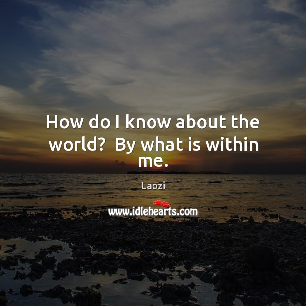 Image, How do I know about the world?  By what is within me.