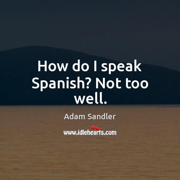 How do I speak Spanish? Not too well. Image