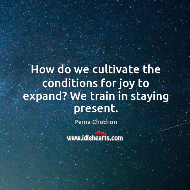 Image, How do we cultivate the conditions for joy to expand? We train in staying present.
