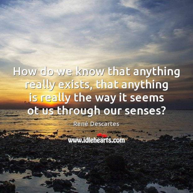 How do we know that anything really exists, that anything is really René Descartes Picture Quote