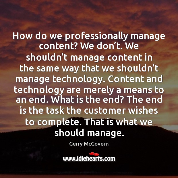 How do we professionally manage content? We don't. We shouldn't Image