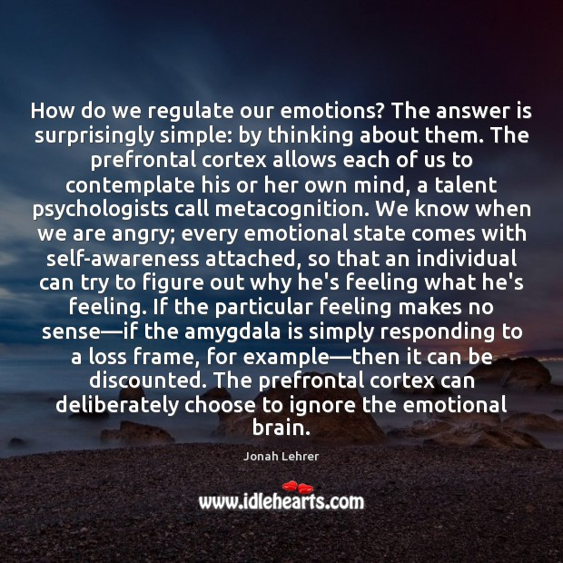 How do we regulate our emotions? The answer is surprisingly simple: by Image