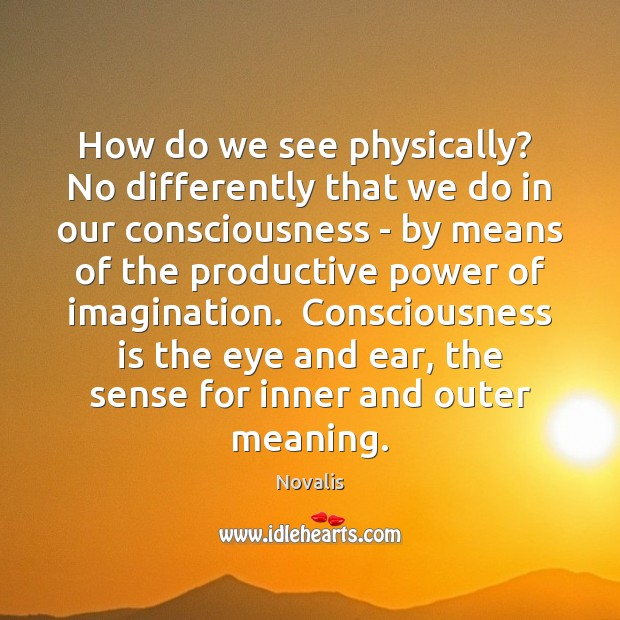 How do we see physically?  No differently that we do in our Novalis Picture Quote