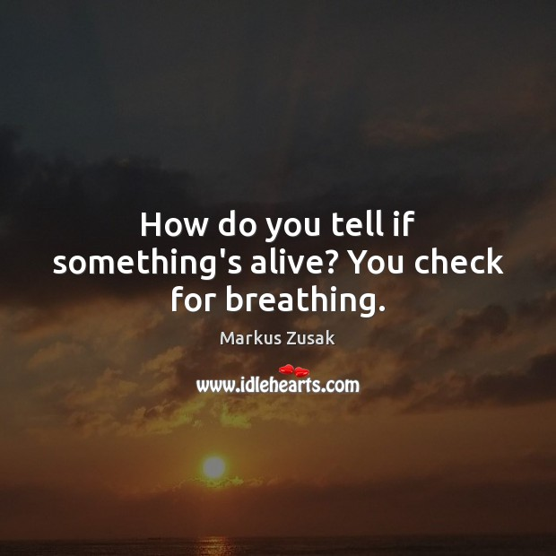How do you tell if something's alive? You check for breathing. Image