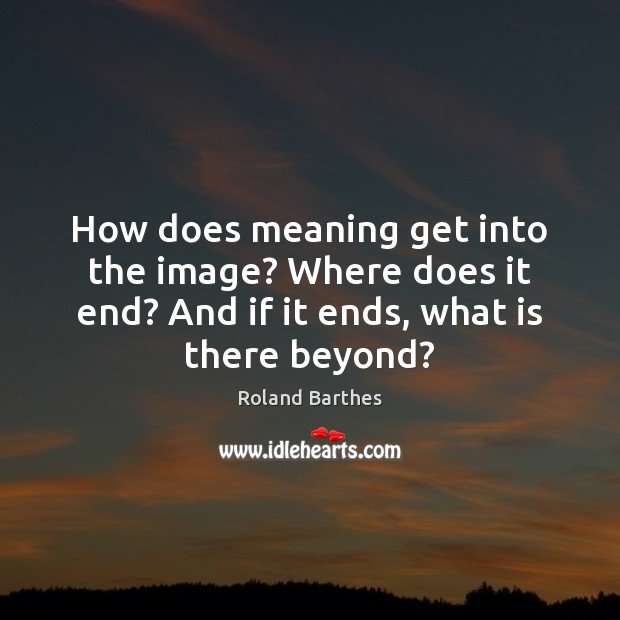 How does meaning get into the image? Where does it end? And Roland Barthes Picture Quote