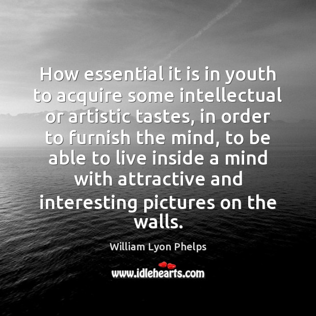 How essential it is in youth to acquire some intellectual or artistic Image