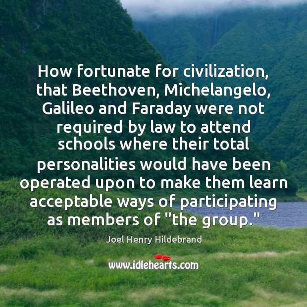 How fortunate for civilization, that Beethoven, Michelangelo, Galileo and Faraday were not Image