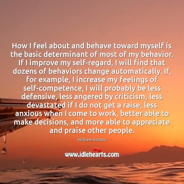 Image, How I feel about and behave toward myself is the basic determinant