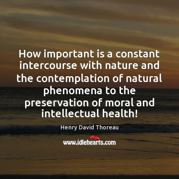 Image, How important is a constant intercourse with nature and the contemplation of