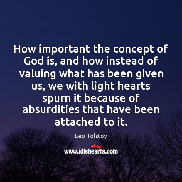 How important the concept of God is, and how instead of valuing Image