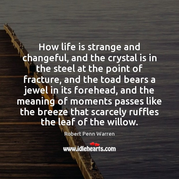 How life is strange and changeful, and the crystal is in the Robert Penn Warren Picture Quote