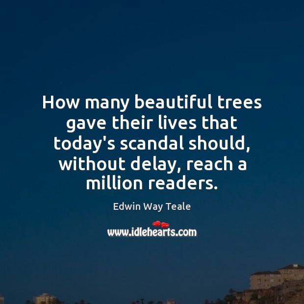 Image, How many beautiful trees gave their lives that today's scandal should, without