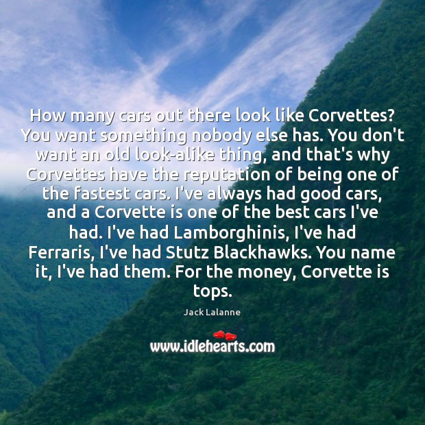 How many cars out there look like Corvettes? You want something nobody Jack Lalanne Picture Quote