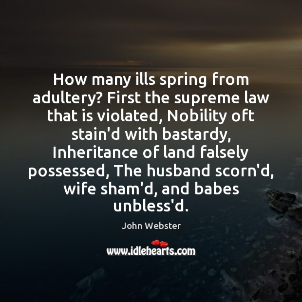 How many ills spring from adultery? First the supreme law that is John Webster Picture Quote