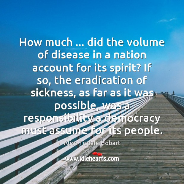 How much … did the volume of disease in a nation account for Image