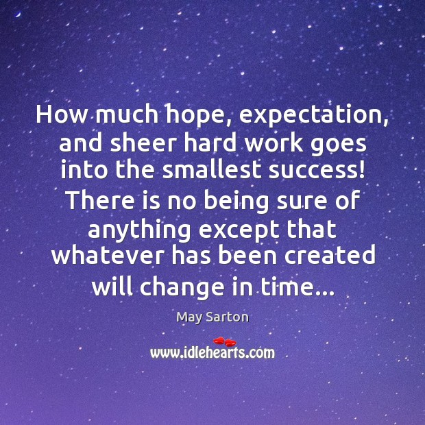 How much hope, expectation, and sheer hard work goes into the smallest May Sarton Picture Quote