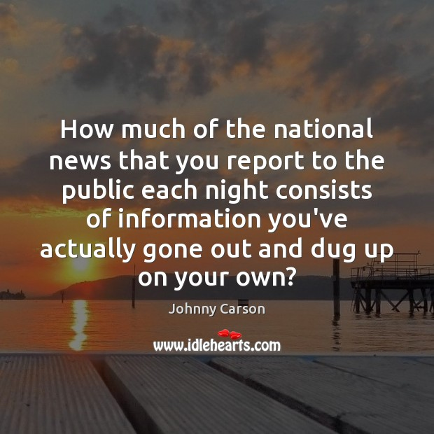 How much of the national news that you report to the public Image