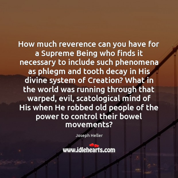 How much reverence can you have for a Supreme Being who finds Joseph Heller Picture Quote