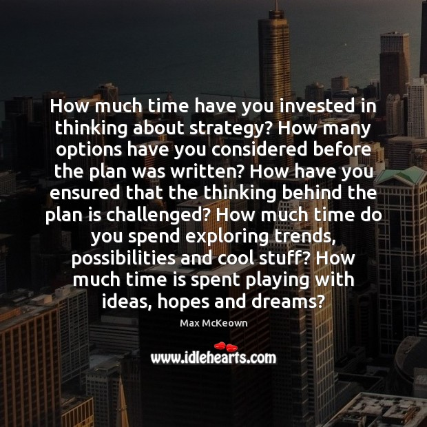 Image, How much time have you invested in thinking about strategy? How many