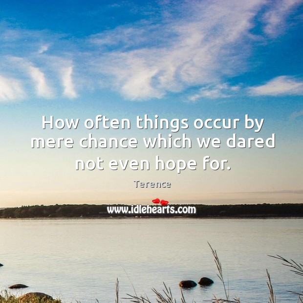 How often things occur by mere chance which we dared not even hope for. Terence Picture Quote