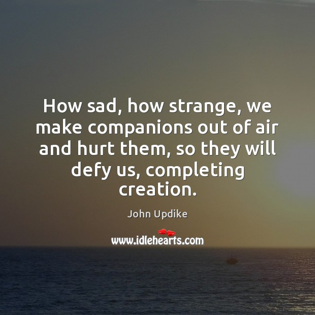 How sad, how strange, we make companions out of air and hurt John Updike Picture Quote
