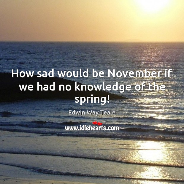 How sad would be November if we had no knowledge of the spring! Edwin Way Teale Picture Quote