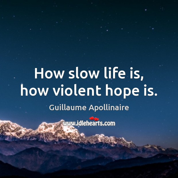 How slow life is, how violent hope is. Hope Quotes Image