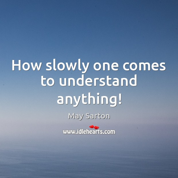 How slowly one comes to understand anything! Image
