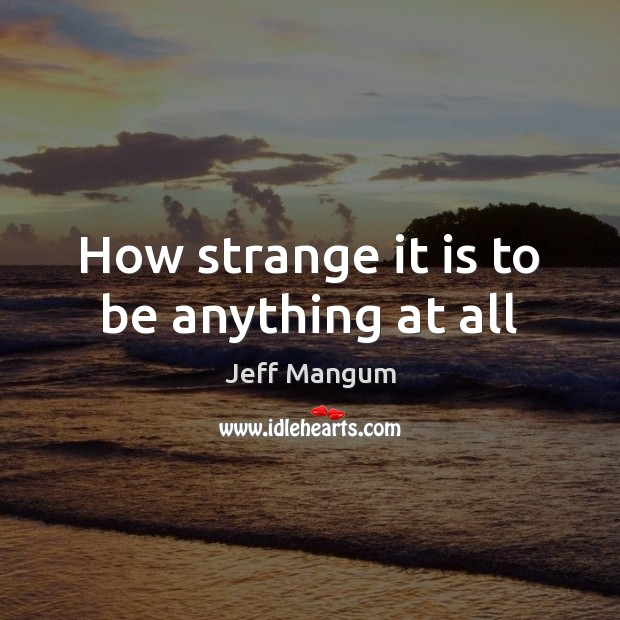 Image, How strange it is to be anything at all