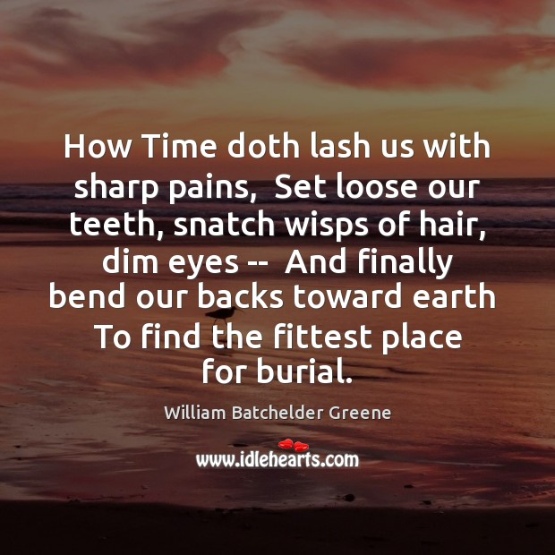 Image, How Time doth lash us with sharp pains,  Set loose our teeth,