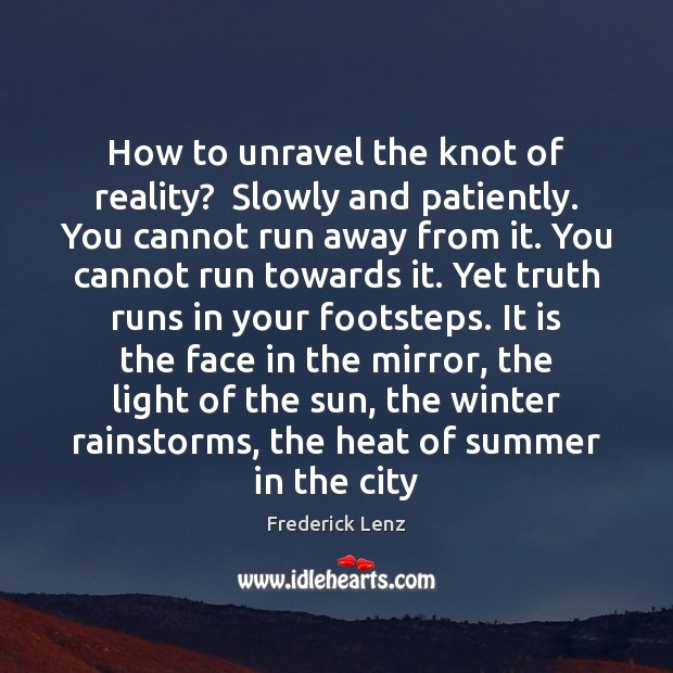 How to unravel the knot of reality?  Slowly and patiently. You cannot Winter Quotes Image
