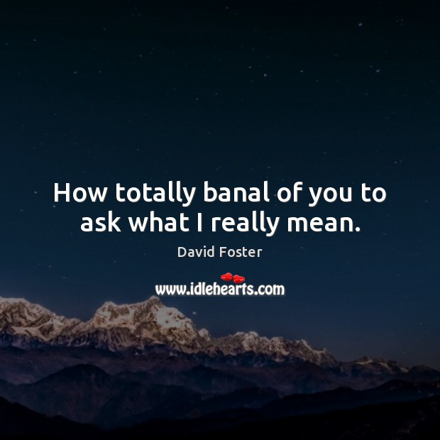 How totally banal of you to ask what I really mean. Image