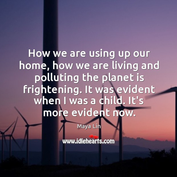 How we are using up our home, how we are living and Maya Lin Picture Quote