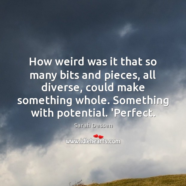 How weird was it that so many bits and pieces, all diverse, Sarah Dessen Picture Quote
