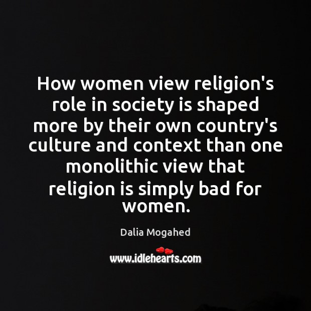 How women view religion's role in society is shaped more by their Image