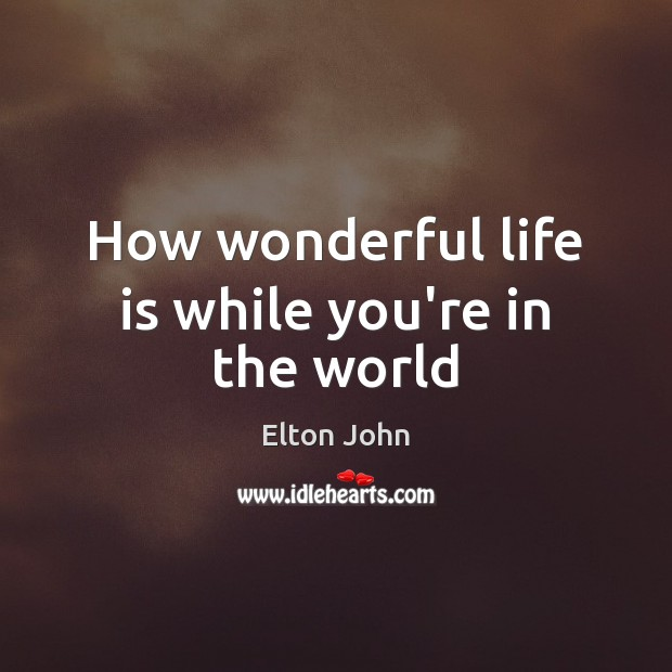 How wonderful life is while you're in the world Elton John Picture Quote