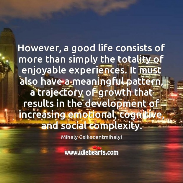 Image, However, a good life consists of more than simply the totality of
