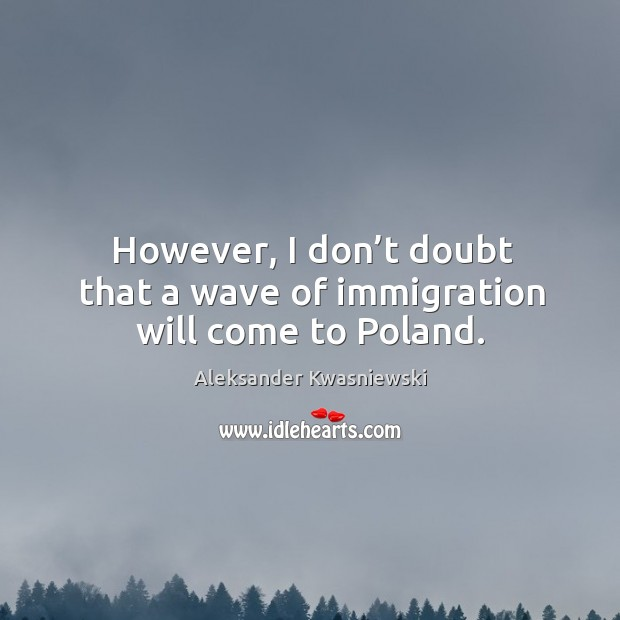 However, I don't doubt that a wave of immigration will come to poland. Image
