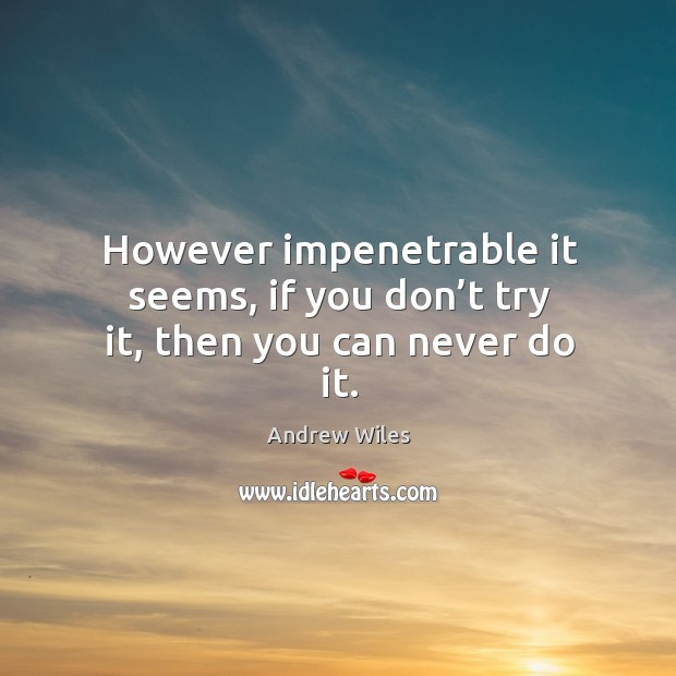 However impenetrable it seems, if you don't try it, then you can never do it. Andrew Wiles Picture Quote